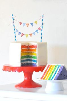 RAINBOW CAKE with FREE MINI PENNANT BANNER TOPPER download! Via Kara's Party Ideas KarasPartyIdeas.com