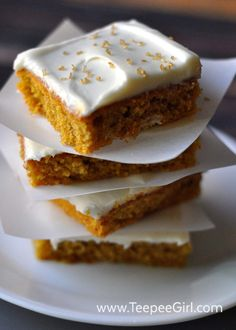 These pumpkin spice bars are delicious and easy! The cream cheese frosting adds just the right amount of texture and sweetness. Friends & family will love this dessert! www.TeepeeGirl.com
