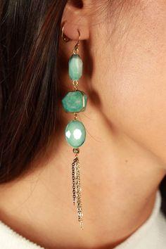 Play It By Ear Earrings in Aqua