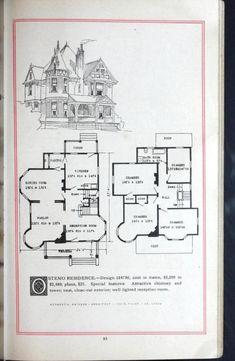 Artistic homes / Herbert C. Victorian House Plans, Vintage House Plans, Victorian Homes, Architectural House Plans, Architectural Prints, Small House Plans, House Floor Plans, Sears Catalog Homes, Simple Floor Plans