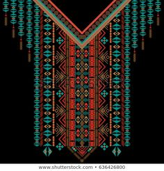 Vector design for collar shirts, shirts, T-shirt. Embroidery ethnic geometric elements for fabric, textile. Aztec geometric neck line design graphics fashion wearing. Embroidery Neck Designs, Geometric Embroidery, Shirt Embroidery, Textiles, Car Drawing Kids, Fabric Patterns, Print Patterns, Inca Art, Floral Pattern Wallpaper