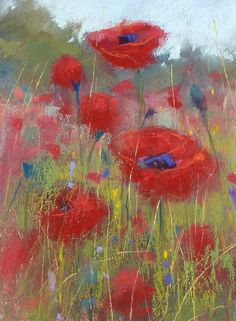 Red POPPIES poppy Flower 6x8 Original Pastel Painting Karen Margulis