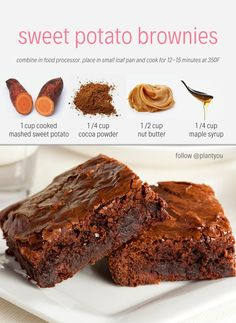 Desserts can be healthy too! We have created the ultimate sweet potato brownie that only requires 4 plant-based ingredients. Vegan Brownies   Healthy Brownie Recipes   Plantbased Dessert Recipes   Fitness and Nutrition   High Protein Vegan   Fall Desserts   #vegandesserts #plantbasedbrownies #thanksgivingrecipes #veganthanksgiving #vegantreats #veganmealplan