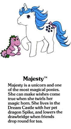 My Little Pony Majesty with Spike the dragon fact file ...