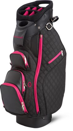 Sun Mountain Ladies Diva Cart Golf Bags - Black & Pink, a functional riding cart bag with a stylish edge. #Bags #Accessories #Golf