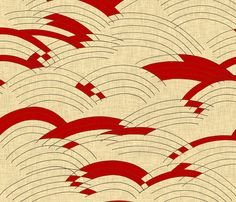 cloud_lines_linen_red fabric by holli_zollinger on Spoonflower - custom fabric