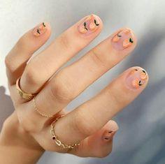 Nail Art Inspiration For Your Next Manicure Peach Nails inside Nail Art Inspiration - Fashion Style Ideas Peach Nail Polish, Peach Nails, Lemon Nails, Polish Nails, Peach Acrylic Nails, Coral Nails, Nail Art Designs, Simple Nail Designs, Round Nail Designs