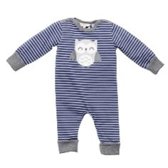 Designer baby boy clothing - Fox & Finch - Baby Moody Stripe Romper Price: Was $34.95 Now $ 22.95  Adorable baby boys long sleeve funky romper by Fox and Finch Baby!  Your little man will be super snug and stylish in this divine romper from the creators of Bebe by Minihaha!  Features round neckline (makes dressing a breeze!), made from super soft cotton to keep your little man comfy and contrast grey trim.   Designer baby boy clothing - Fox & Finch