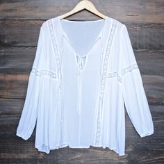 tie front lace accent tunic top in white - shophearts - 1