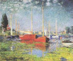 """""""Les Bateaux Rouges"""".  """"Os Barcos Vermelhos"""".  (1875). (by Claude Monet)."""