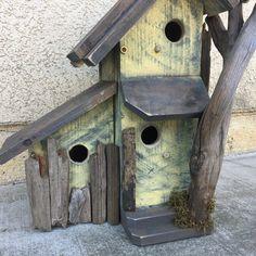 Rustic Condo Birdhouse Handmade Functional Farmhouse Birds Nest Box, Yellow & Grey Bird House, Driftwood n Moss Accents, Item #505942884