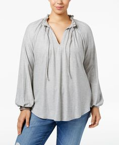 Melissa McCarthy Seven7 Trendy Plus Size Ruffled Peasant Top