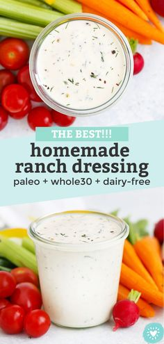 The BEST Paleo Ranch Dressing - This easy paleo ranch comes together in no time! Dairy free, gluten free, paleo and keto approved! // homemade ranch dressing recipe // dairy free ranch dressing recipe // dump ranch // #ranchdressing #paleoranch #dairyfree #glutenfree #dairyfreeranch Paleo Recipes Easy, Whole 30 Recipes, Dairy Free Recipes, Gluten Free, Paleo Meals, Diet Recipes, Paleo Ranch Dressing, Homemade Ranch Dressing, Sin Gluten