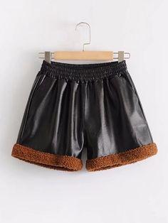 Contrast Trim PU Shorts
