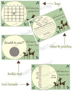 Deer Willow Baby Shower Games... Too cute! Matches my babies room decor :)
