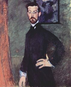 """1909 - """"Portrait of Paul Alexander on green background"""" by Amedeo Modigliani (1884-1920), oil on canvas"""