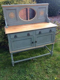 Shabby chic sideboard/chiffonier painted in Annie Sloan duck egg blue with gold leaf detail. Upcycled by UpVamped