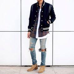 Jacket, Denim, Boots: YSL Flannel: Fear of God LA T-shirt: John Elliot + Co