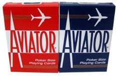 Quality Aviator Casino Playing Cards - 2 Decks by Aviator. $6.99. These casino quality Aviator brand playing cards are plastic coated paper. The dimensions of these poker size cards are 2-1/2 inches wide x 3-1/2 inches tall..  You will receive 2 decks per order (red & blue deck).  NOTE: PLEASE CHOOSE FROM REGULAR OR JUMBO INDEX VIA EMAIL AFTER PURCHASE. IF NO EMAIL REQUEST IS RECEIVED, WE WILL SEND THE REGULAR INDEXED CARDS.