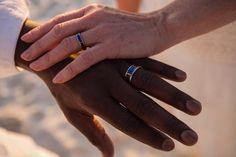 Australian Opal and Koa Wood Hawaii Titanium Ring® Black Lightning, Lightning Ridge, Wedding Ring Hand, Wedding Rings, Earth Design, Titanium Rings, Australian Opal, Blue Opal, Band Rings