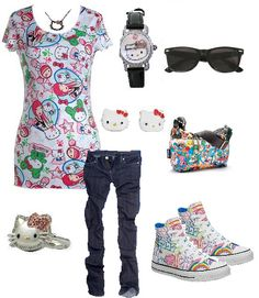 hello kitty tokidoki outfit!!! i would sooo wear this to school :)