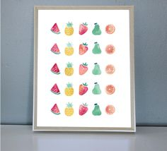 Fruit Salad- Wall/Art Print by PrettyPaperPlaceShop on Etsy Fruit Salad, Wall Art Prints, Holiday Decor, Unique Jewelry, Frame, Handmade Gifts, Shop, Etsy, Vintage