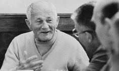 Bohumil Hrabal chatting to friends in his favourite Prague pub. Photograph: Reuters