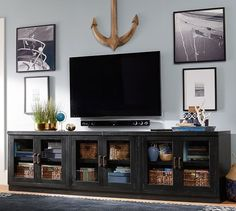 Reynolds Long Low Media Suite | Pottery Barn - Like the picture and accessory display on the wall around TV and soundbar