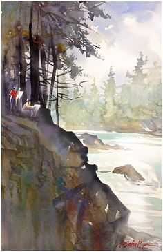6painting by the river - oregon thomas w schaller watercolor - pleinair 22x14