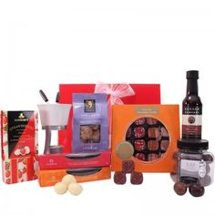 Gourmet Chocolicious Delight: Gift Hampers Australia  www.giftwrappedup.com.au  Duck Creek Macadamia Ultimates Gift Jar 270g (Milk)  Just Bliss Assorted Gift Box - 16 piece 200g  Random Harvest - Rich Chocolate Sauce 140ml  Ashmores Strawberries & Cream 100g  Byron Bay Cookies - 150g Milk Chock Chunks  Just Bliss Assorted Gift Box - Orange Suede 5 piece 60g  Just Bliss Assorted Gift Box - Summer Berries 5 piece 60g  Ashmore's Fondue for Two