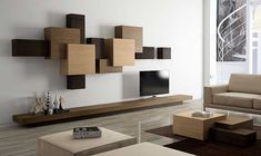 Decorative Shelving System in Overlapped Geometric Design – Collage - The Great Inspiration for Your Building Design - Home, Building, Furniture and Interior Design Ideas Tv Unit Design, Tv Wall Design, House Design, Living Room Tv, Living Room Furniture, Wall Mounted Tv Unit, Floating Tv Unit, Modular Walls, Furniture Design