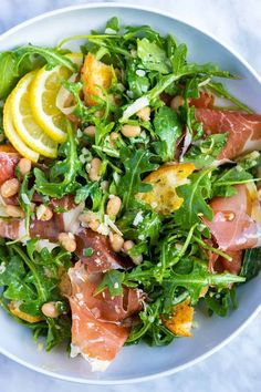 Lemony White Bean Salad with Prosciutto - Lemony White Bean Salad with Prosciut. - Lemony White Bean Salad with Prosciutto – Lemony White Bean Salad with Prosciutto – - Healthy Chicken Recipes, Cooking Recipes, Tofu Recipes, Healthy Salad Recipes, Healthy Tasty Food, Grilling Recipes, Lemon Recipes Dinner, Healthy Life, Vegetarian Grilling