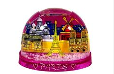 Top 5 wacky gifts to bring from Paris - Pink Paris snow dome. Everything is there. The Eiffel Tower, the Arc de Triomphe, Moulin Rouge, Notre Dame Paris and then on the base two small hearts and Paris stands out in white letters. How cute! Original article suggests brightness can be hazardous to your sight.