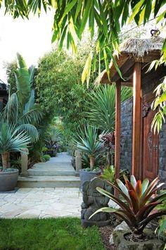 Bali Garden, Balinese Garden, Garden Paths, Bamboo Garden, Garden Beds, Tropical Backyard Landscaping, Tropical Garden Design, Landscaping Ideas, Tropical Gardens