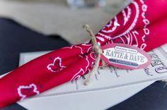 red bandana wedding favor