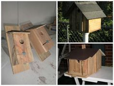 Used pieces of wooden pallets to make good old fashion regular and blue birdhouses!