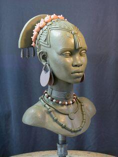 Female bust sculpture 2 by Mark Newman African Sculptures, Sculptures Céramiques, Sculpture Clay, Toy Art, African American Art, African Art, Art Beauté, Art Plastique, Traditional Art
