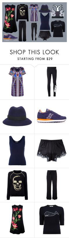 """super fast"" by monica022 ❤ liked on Polyvore featuring Mary Katrantzou, NIKE, Borsalino, Saucony, Claude Montana, Dolce&Gabbana, Philipp Plein, Raquel Allegra, Thom Browne and Monreal"