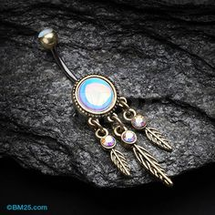 Vintage Rustica Iridescent Dreamcatcher Belly Button Ring