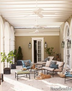 like the trim  color and the beams in ceiling Outdoor Room Design Ideas - Photos of Outdoor Rooms - House Beautiful