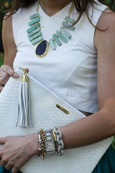 White Leather Crop, statement necklace, layered bracelets, tip pouch Skirt Outfits, Cute Outfits, Scarf Jewelry, Bold Jewelry, Statement Jewelry, Jewellery, Fab Bag, Party Skirt, Fashion Beauty