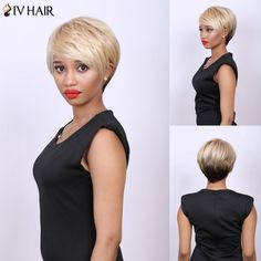 Multi Short Side Bang Straight Real Natural Hair Siv Wig #>=#>=#>=#>=#> Click on the pin to check out discount price, color, size, shipping, etc. Save and like it!