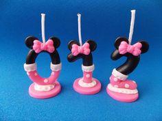 Velas para cumpleaños personalizadas. Minnie mouse en porcelana fria