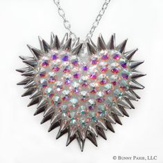 Crystal AB Pavèd & Spiked Heart Necklace // made by BunnyPaige, $70.00