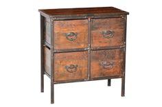 Vintage Industrial 4 Drawer, Teak Wood Decor, Wood, Reclaimed Wood, Iron, Vintage Industrial Furniture, Furniture, Teak Wood, Home Decor, Vintage