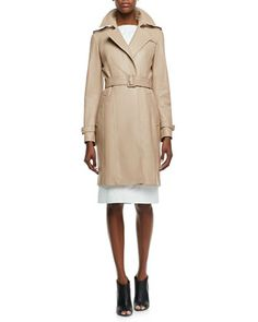 Leather No-Button Trenchcoat & Leather Sleeveless Bateau Dress by Burberry London at Neiman Marcus.