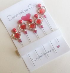 Sweetheart Pins  Quilting Pins  Fancy Sewing by PincushionCrazy