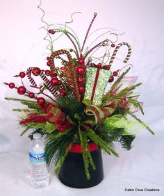 Christmas Top Hat Centerpiece Floral Arrangement Holiday New Year Wedding red lime green Unique Whimsical BlinG by Cabin Cove Creations Christmas Tops, Christmas Hat, Country Christmas, Christmas Wreaths, Christmas Crafts, Christmas Ideas, Christmas Flower Arrangements, Christmas Table Decorations, Floral Arrangements