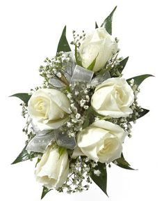 FIVE WHITE ROSE CORSAGE - Five white sweetheart roses with babies breath. Designed as a wrist corsage, but can be converted to a pin on corsage with included pins. Item #594