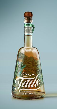 Cuban Tails Spiced Rum | #packaging #bottledesign #rum
